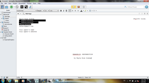 Scrivener Title Page